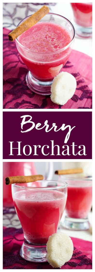 This Berry Horchata is a fun twist on the classic Mexican drink! Fresh berries, rice, cinnamon, and sugar skull sugar cubes make this a great addition to your Día de Muertos celebrations!