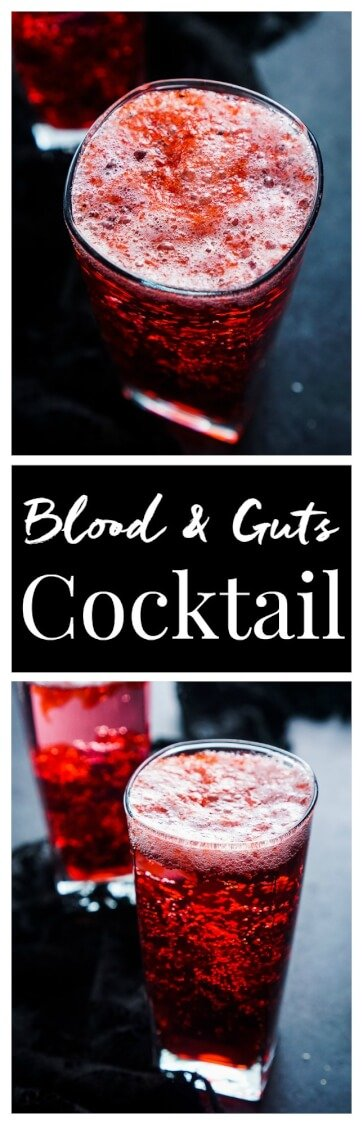 This Blood and Guts Cocktail is an easy and fun drink to add to your Walking Dead premiere or Halloween party!