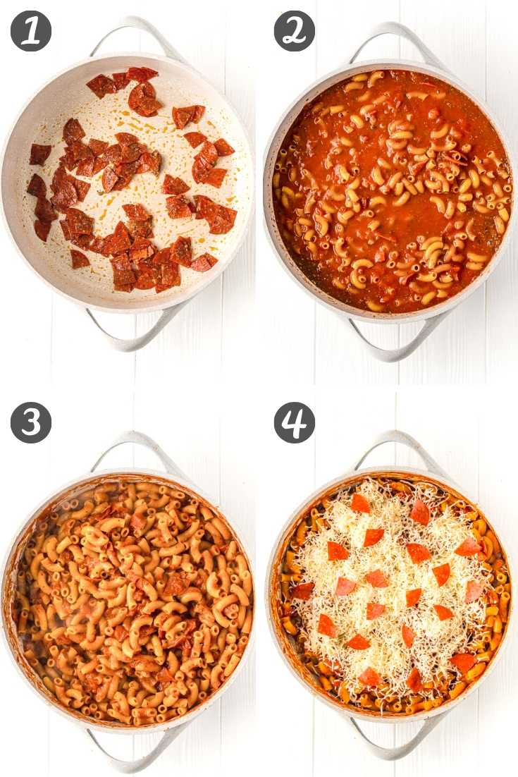 Step-by-step photo collage showing how to make pizza pasta.
