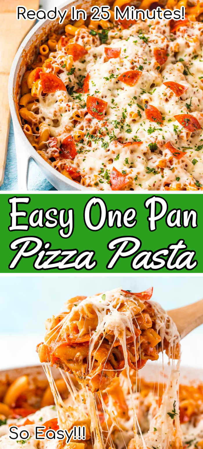 This One Pan Pizza Pasta is what weeknight dreams are made of! Pizza and pasta come together in an easy meal loaded with flavor that's ready in less than 30 minutes and made in one pot!!!