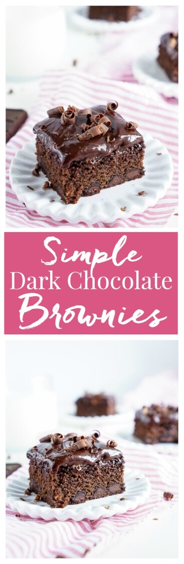 These Simple Dark Chocolate Brownies are an intense rich chocolate dessert served with a silky layer of chocolate ganache!