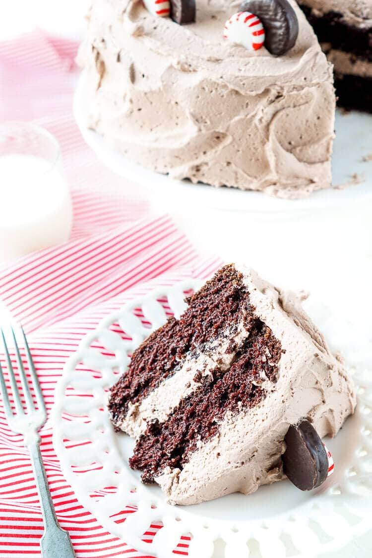 This Peppermint Cocoa Cake is rich, moist, and chocolaty with a whipped cream frosting that's laced with peppermint! It's like an edible mug of peppermint cocoa! It's getting RAVE reviews and makes a delicious holiday treat!