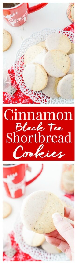 These Cinnamon Black Tea Shortbread Cookies are a simple, fast, and tasty holiday cookie! A classic shortbread cookie laced with cinnamon and black tea and then dipped in a cinnamon icing, they're perfect for a cookie exchange! Plus they take less than 30 minutes to make!