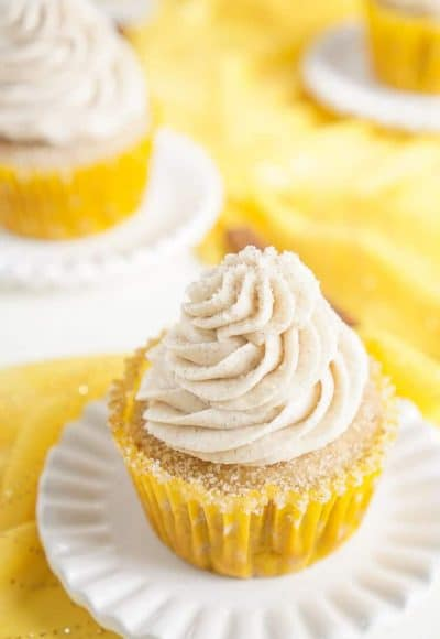 These Snickerdoodle Cupcakes are everything you love about the classic cinnamon sugar cookie in cupcake form!
