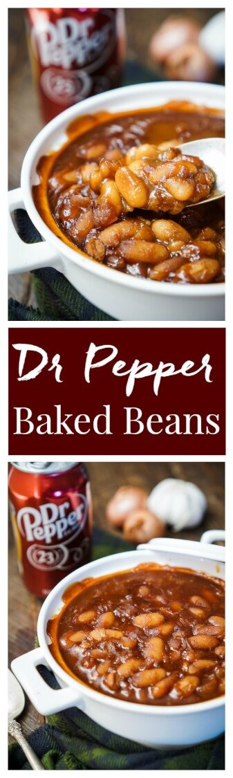 These Dr Pepper Baked Beans are sweet and delicious and ready in less than an hour! A comforting recipe great for holidays, game days, and weekends!