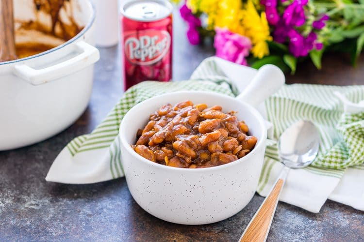 These Dr Pepper Baked Beans are ready in less than an hour!