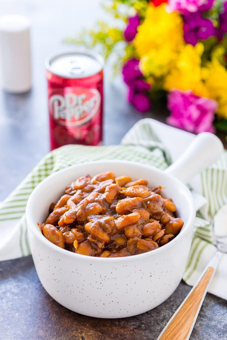 These Dr Pepper Baked Beans are a sweet and delicious side dish!