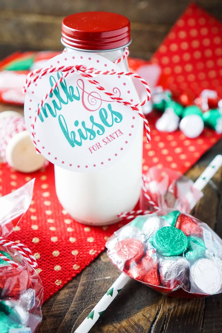 These Cocoa, Milk and Kisses for Santa gift sets are so cute and the perfect way to skip out on the cookies! Plus there's free printables and a recipe for Homemade Cocoa Mix! This is a great DIY gift for neighbors and teachers too!