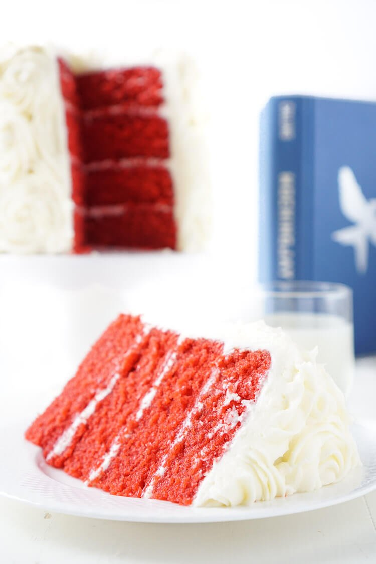 Red Velvet Cake, aka President Snow's White Rose Cake, is a red velvet cake frosted in cream cheese buttercream and inspired by The Hunger Games trilogy and perfect for Valentine's Day too!