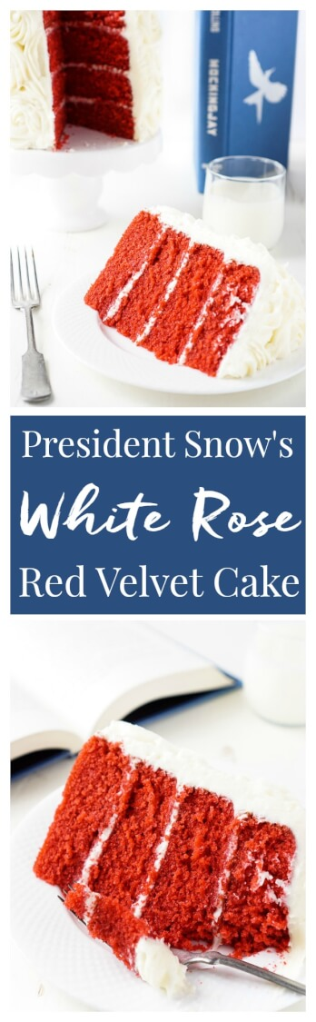 Red Velvet Cake, aka President Snow's White Rose Cake, is a red velvet cake frosted in cream cheese buttercream and inspired by The Hunger Games trilogy! via @sugarandsoulco