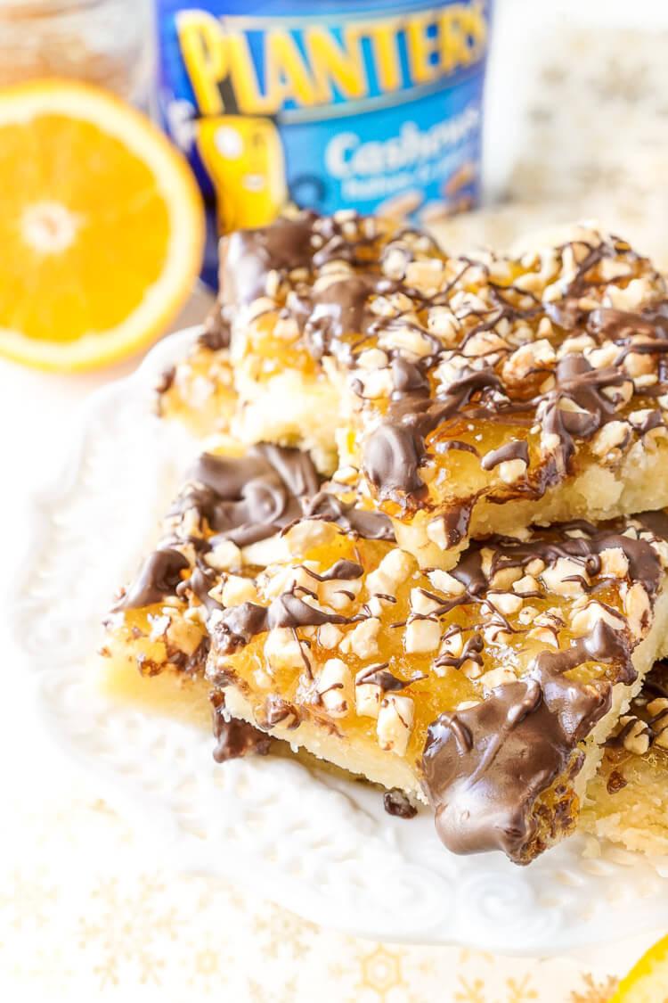 ... shortbread crust topped with sweet orange marmalade, dark chocolate