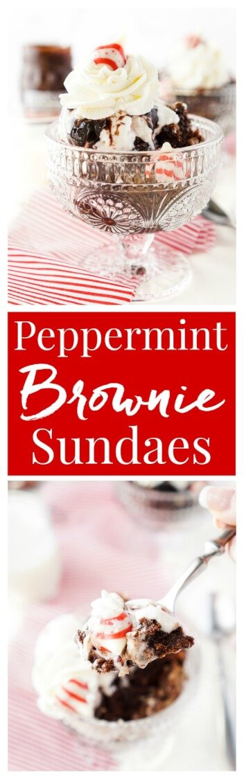These Peppermint Kisses Brownie Sundaes are a dessert the whole family can make and enjoy together! Homemade fudgy brownies laced with Hershey's Candy Cane Kisses and topped with peppermint ice cream, whipped cream, and hot fudge make this a holiday treat you'll want to make again and again!