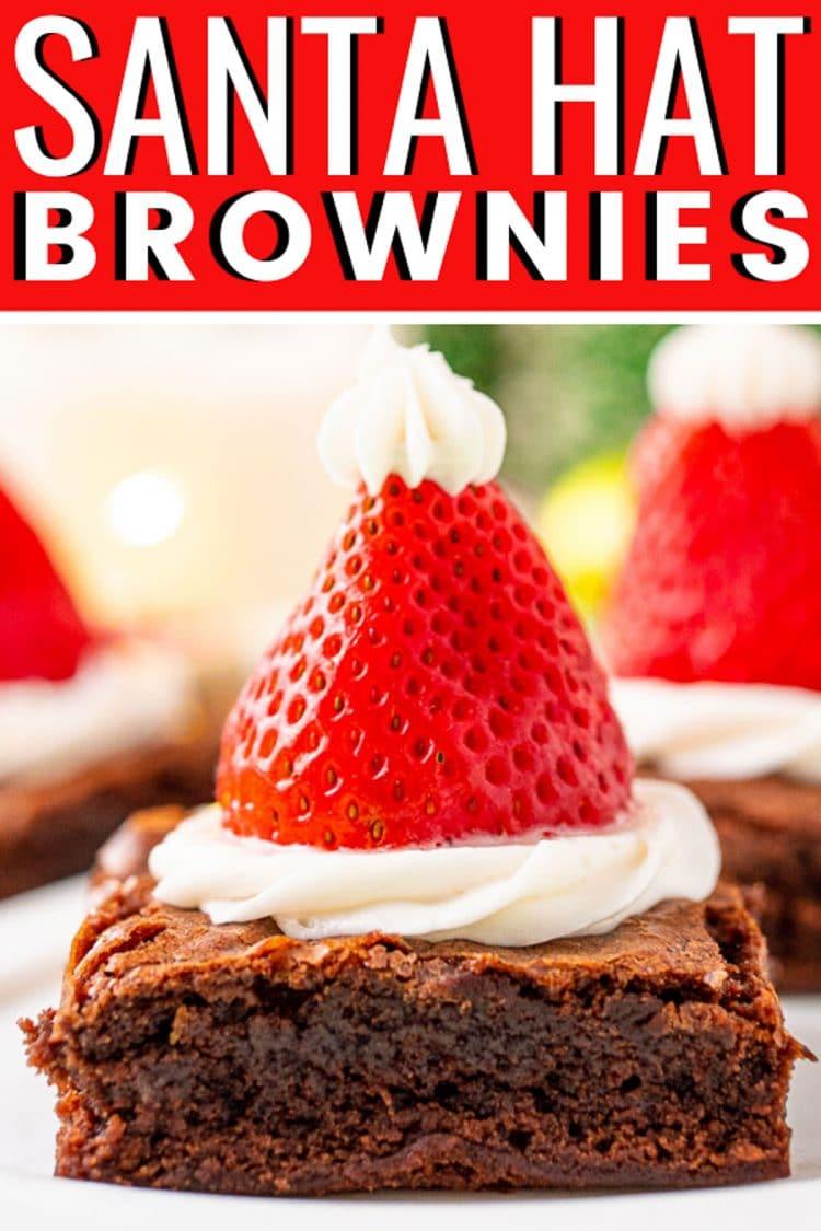 Close up photo of santa hat brownies.