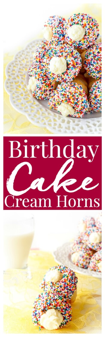 These Birthday Cake Cream Horns are a flaky pastry that's been dipped in white chocolate and nonpareils and filled with a whipped vanilla cream!