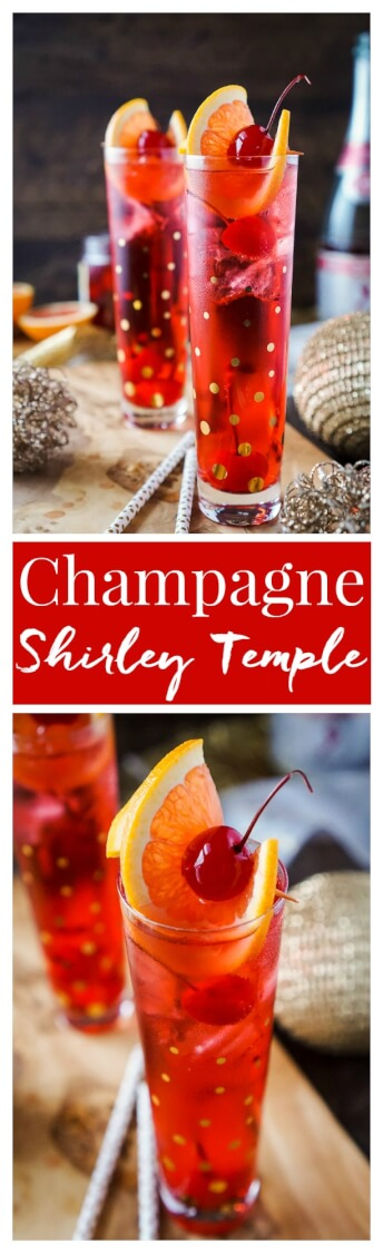 This Champagne Shirley Temple switches out soda for some bubbly for a twist on the classic making it perfect for New Year's Eve! via @sugarandsoulco
