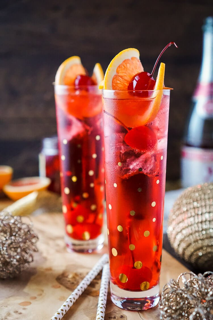 This Champagne Shirley Temple switches out soda for some bubbly for an adult twist on the classic drink recipe!