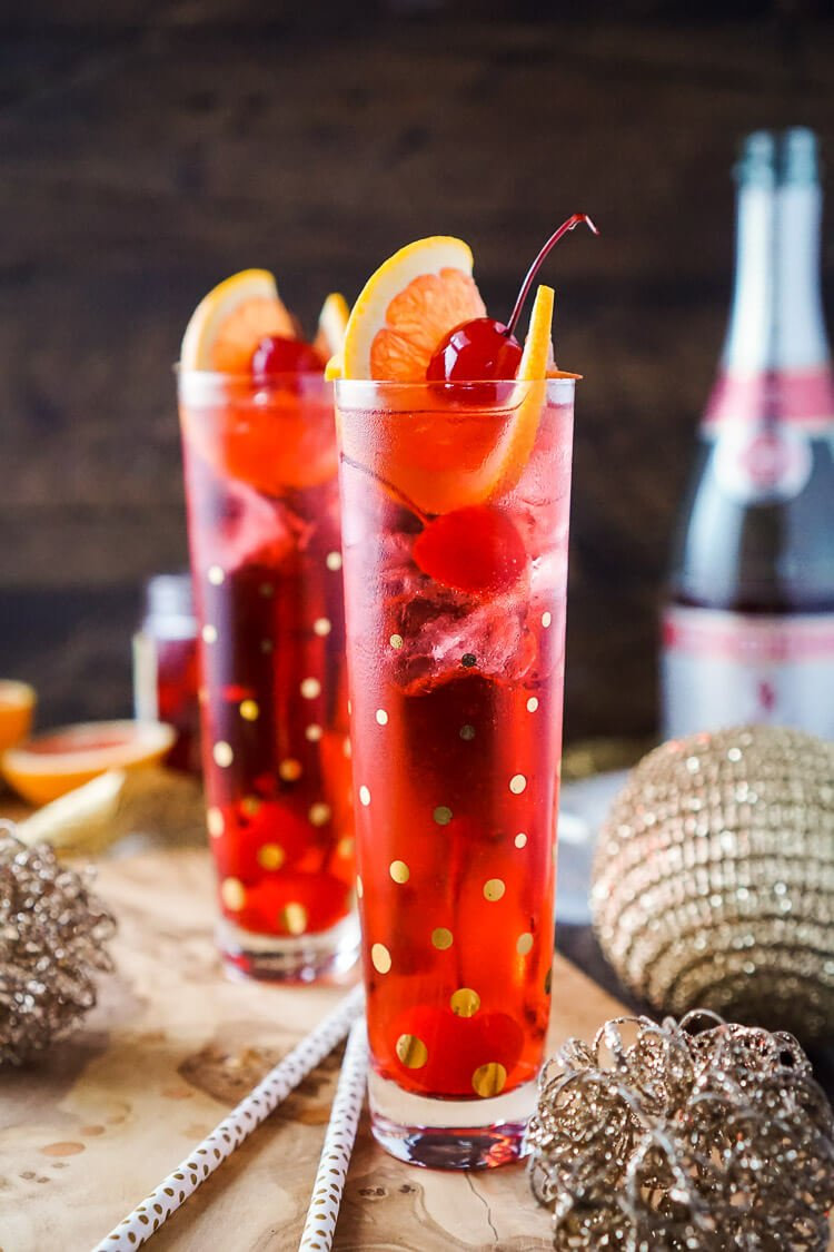 This Champagne Shirley Temple is the perfect holiday party drink!