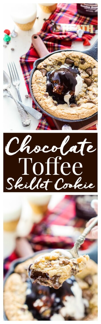 This Chocolate Toffee Skillet Cookie is the ultimate family dessert! Layers of chocolate and bits of toffee are folded into a cookie that's baked in cast iron and topped with ice cream and hot fudge.