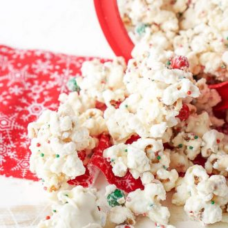 Have a Merry Movie Night and some Christmas Cake Popcorn to unwind this holiday season! This easy popcorn mix can be put together in just a few minutes with a few ingredients the whole family will love!