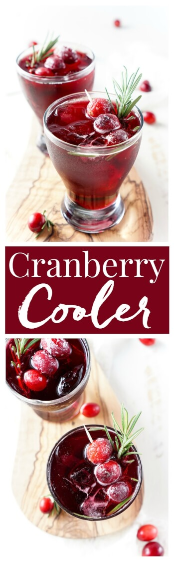This Cranberry Cooler recipe is refreshing and delicious with just a handful of ingredients that will have you feeling festive in no time! Cranberries, sugar, and a dash of peppermint combine for a non-alcoholic drink that's both tart and crisp. Make it for Christmas or NYE!