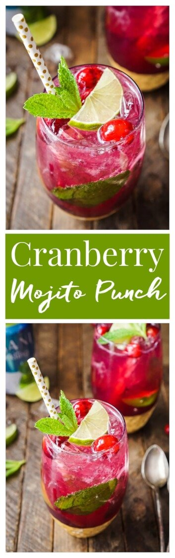 This Cranberry Mojito Punch is so refreshing and flavorful! It's a festive sparkling cocktail that's sure to have everyone dancing the night away at your holiday party! The red and green make it the perfect Christmas cocktail recipe!