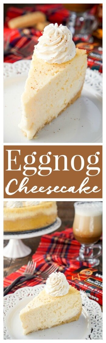 This Eggnog Cheesecake is enclosed in a sweet shortbread cookie crust and laced with whisky and nutmeg for the ultimate holiday dessert! via @sugarandsoulco
