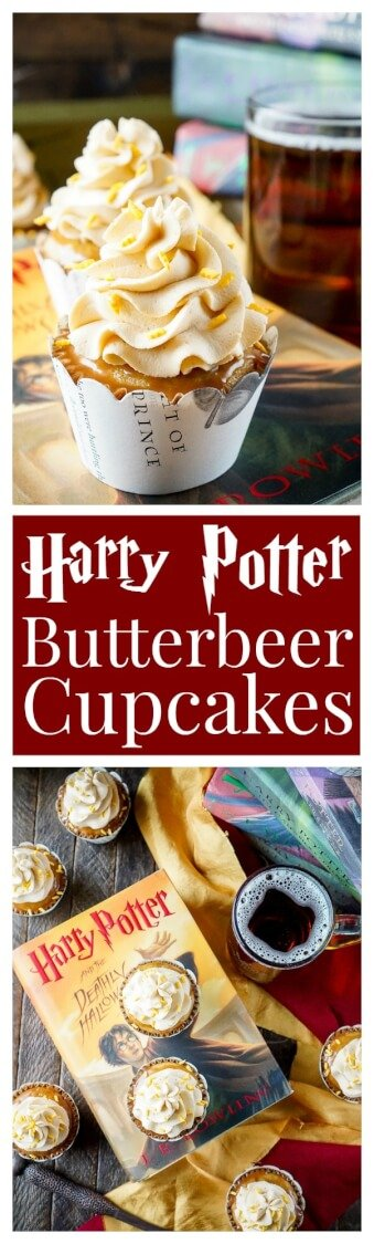 These Harry Potter Butterbeer Cupcakes will cast a spell on your taste buds and leave you in a state of geeky bliss! via @sugarandsoulco