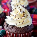 These Hot Chocolate Cupcakes are made with actual hot chocolate in the batter, filled with marshmallow fluff, and finished with a vanilla whipped cream frosting!