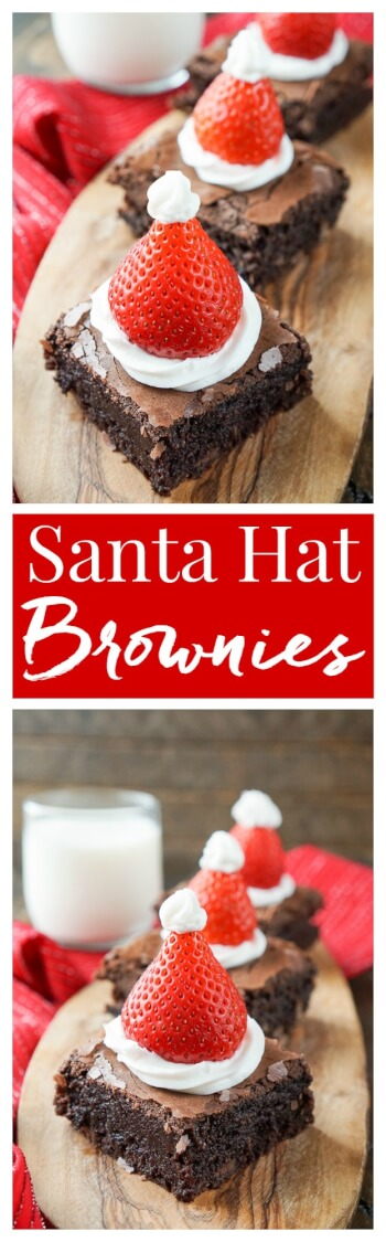 These Santa Hat Brownies are a simple and festive richchocolate dessert the whole family will love!