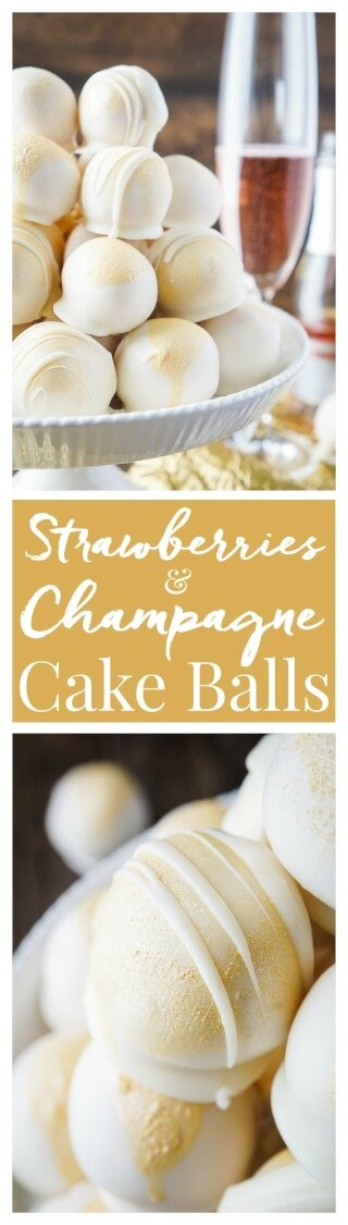 These Strawberries & Champagne Cake Balls are perfect for New Year's Eve, Valentine's Day, Bridal Showers and so much more! via @sugarandsoulco