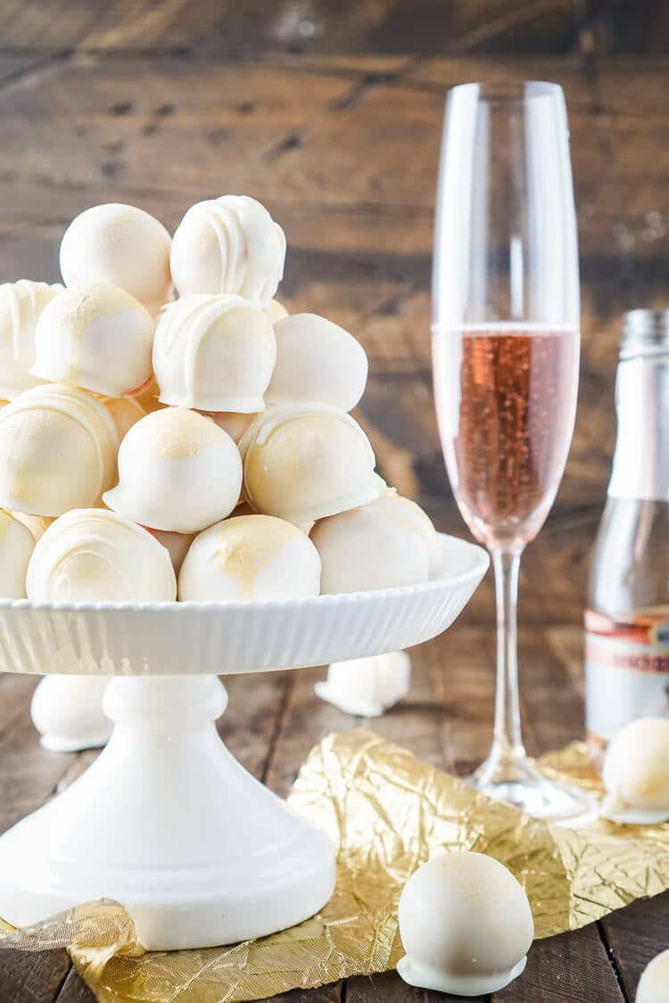 these strawberries champagne cake balls are perfect for a new years eve party valentines
