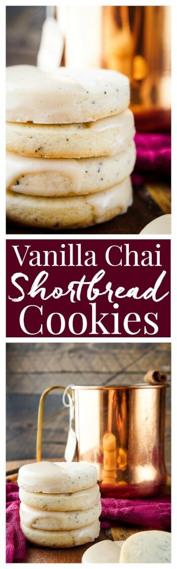 These Vanilla Chai Shortbread Cookies are simple with a little spice and a whole lot of cozy! via @sugarandsoulco