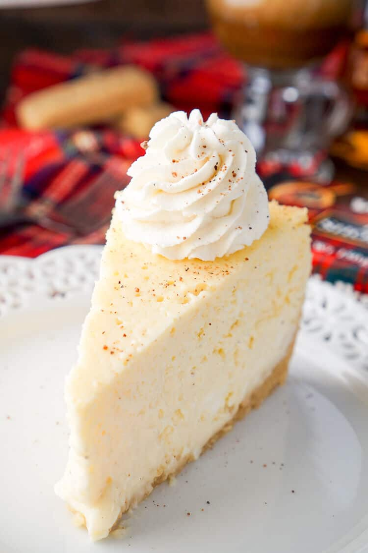 I loved this Eggnog Cheesecake! It's made with a sweet shortbread cookie crust instead of traditional graham crackers and is laced with whisky and nutmeg! I love how festive it is with a unique touch to impress guests!