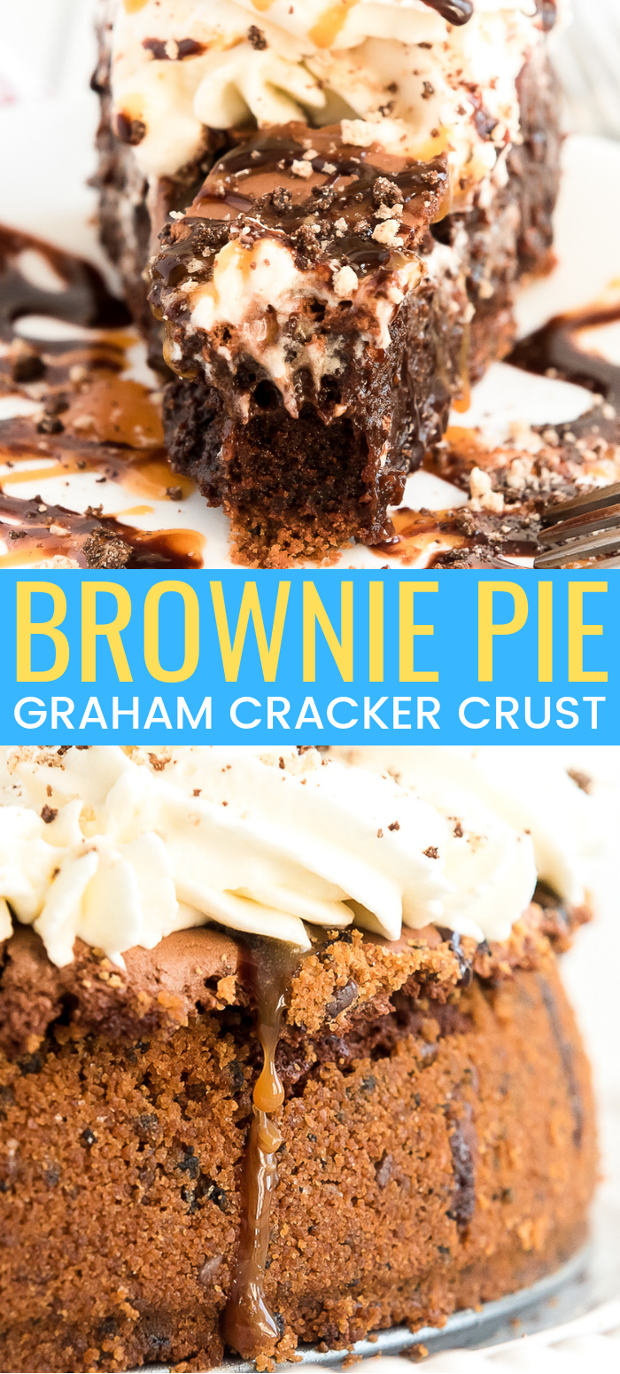 This Brownie Pie is the ultimate comfort dessert! A brownie baked into a graham cracker crust and laced with caramel, then topped with whipped cream and both caramel and chocolate drizzle! via @sugarandsoulco