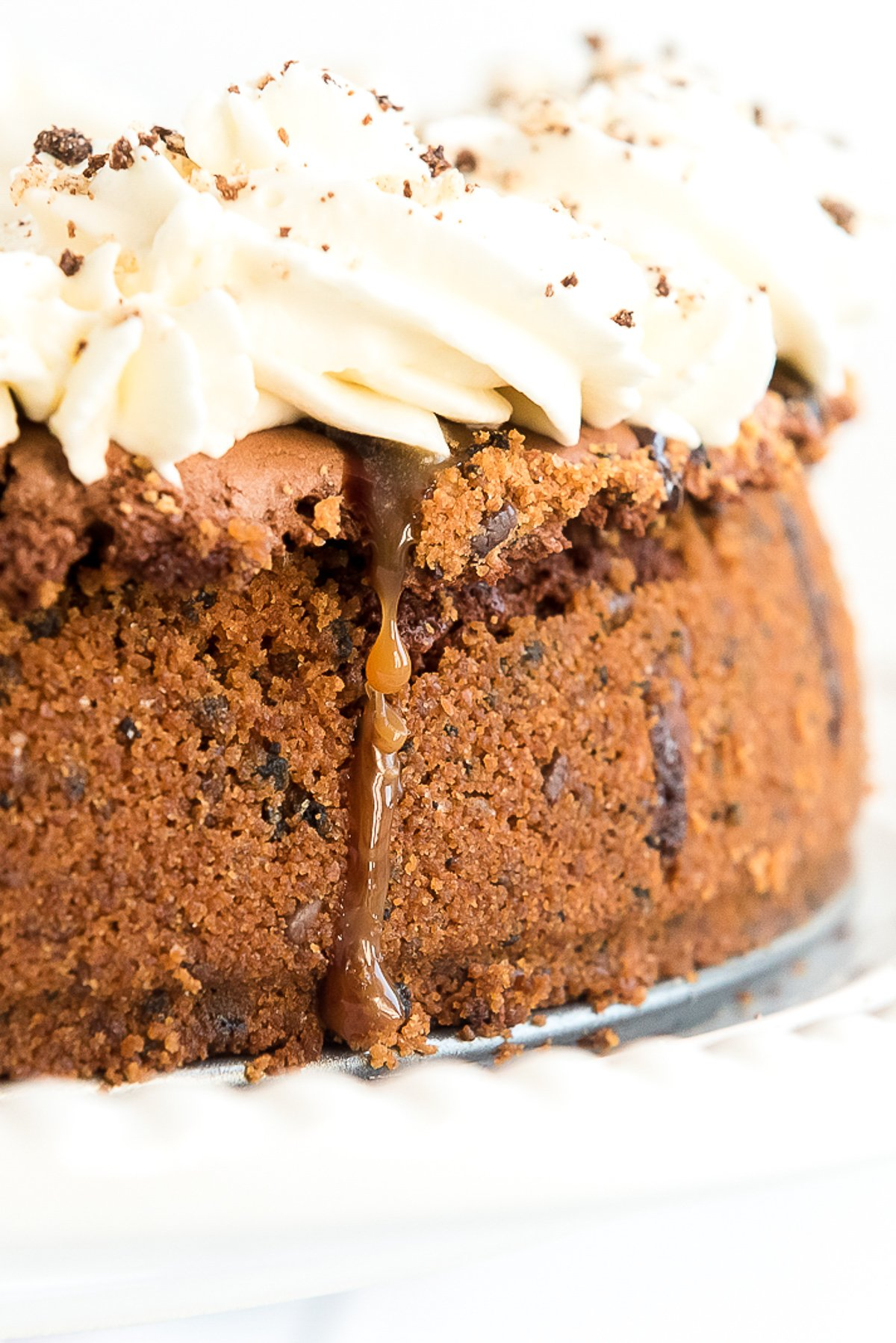 Close up photo of a brownie pie on a cake stand.