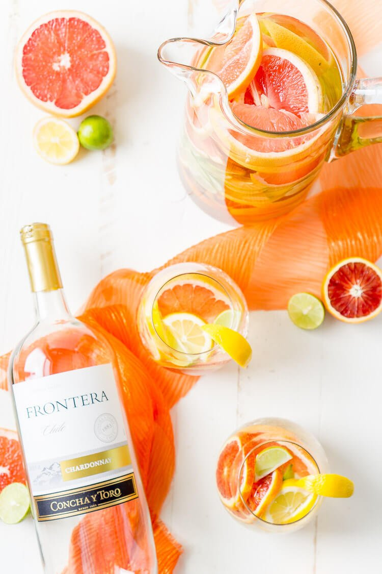 This Citrus Sangria is packed with fresh ruby red grapefruit, blood oranges, lemons, and key limes for a bright a zesty cocktail perfect for a party!
