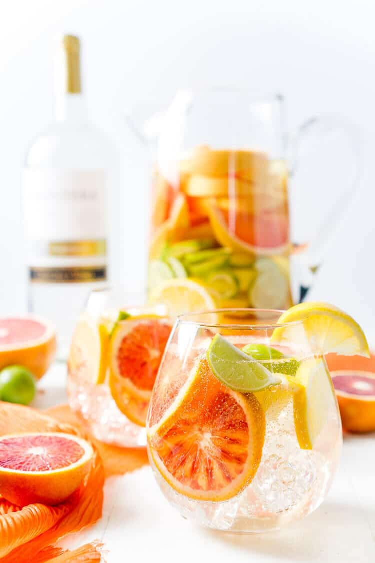 This Citrus Sangria is packed with fresh ruby red grapefruit, blood oranges, lemons, and key limes for a bright and zesty cocktail perfect for a party!