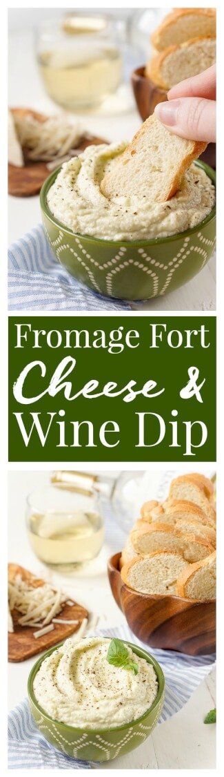 What a great way to use leftover cheese! This Fromage Fort is a French wine and cheese dip that uses up leftover cheese for an exceptional dip that's super easy to make! Ready in just 5 minutes!