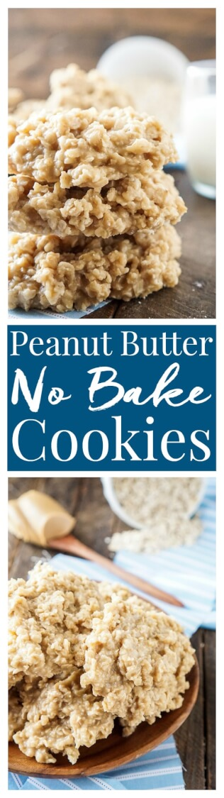 Peanut Butter No Bake Cookies are an easy classic the whole family will enjoy! They're made with just 6 ingredients and only take a few minutes!
