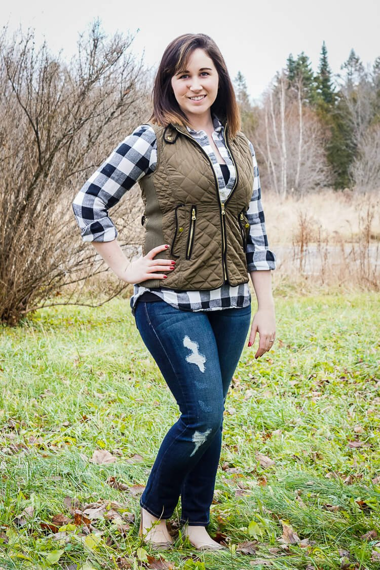 Fate - Rowan Quilted Vest and Just Black - Paislee Distressed Straight Leg Jean - January 2016 Stitch Fix Review