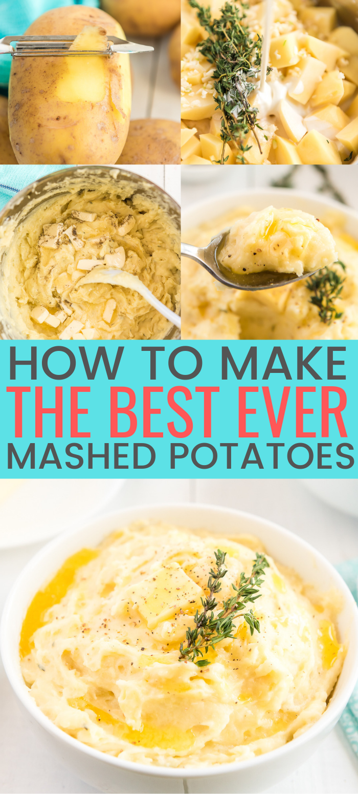 These are The Best Creamy Mashed Potatoes you'll ever make and super easy too! They're loaded with butter, milk, and cream and flavored with garlic and thyme and a touch of salt and pepper! via @sugarandsoulco