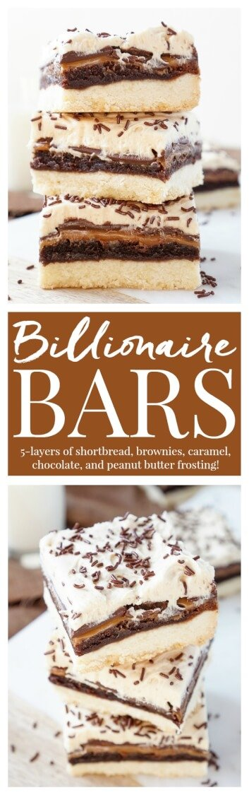 These Billionaire Bars are made with 5 glorious layers of RICH and DECADENT sugary favorites! Shortbread, brownie, caramel, chocolate, and peanut butter frosting combine for the ultimate dessert bar! Everyone will be begging you for the recipe! via @sugarandsoulco