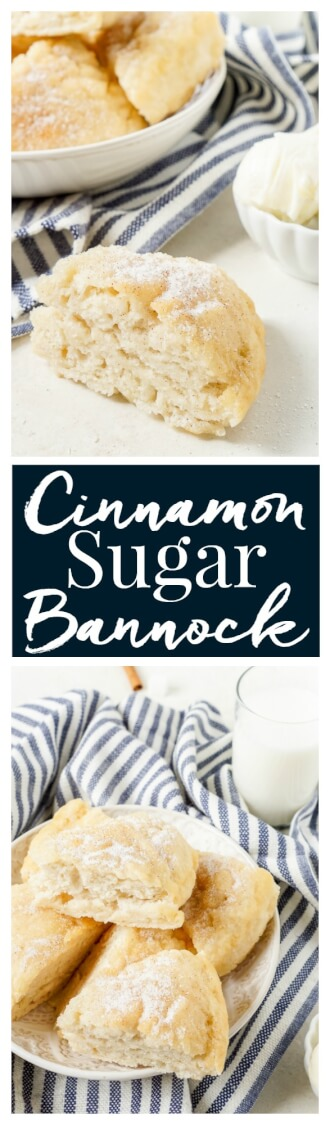 This Cinnamon Sugar Bannock is a sweetened up version of the classic bread recipe! It's ready in just 15 minutes and tastes like a cross between buttermilk biscuits and doughboys! It's great for breakfast, brunch, or as a dinner side! via @sugarandsoulco