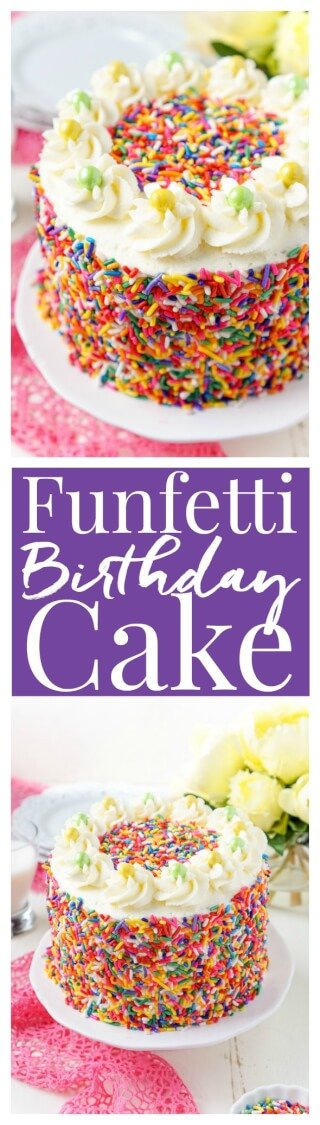 This Funfetti Birthday Cake is made with a fluffy white cake loaded with rainbow sprinkles and wrapped in a white chocolate whipped cream frosting and even more sprinkles! via @sugarandsoulco