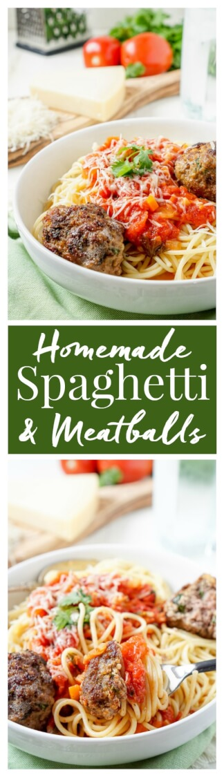 This Homemade Spaghetti and Meatballs recipe is loaded with classic Italian flavor the whole family will love! via @sugarandsoulco