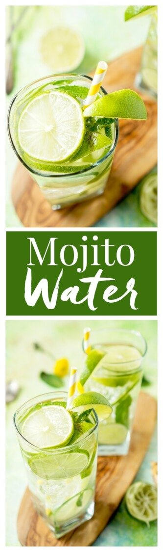 This Mojito Water is a refreshing infused water with bright limes and cool mint - make it in minutes! via @sugarandsoulco