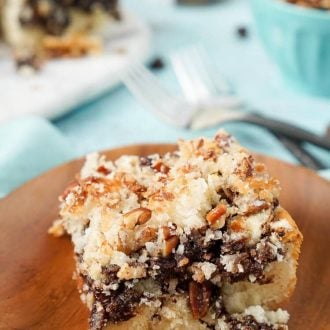 This Mocha Nut Coffee Cake is a SIMPLE and delicious breakfast cake with a mocha swirl and topped with a sugary nut mixture. Amazing flavor and texture in every bite make it perfect for weekend brunch or weekday breakfast! Ready in just 35 minutes!