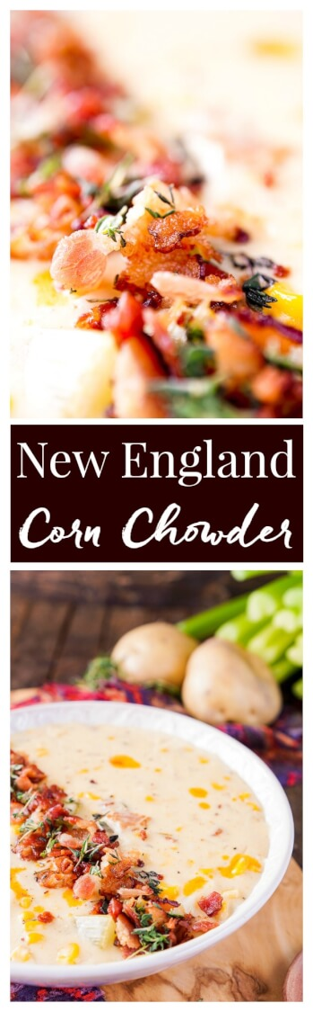 This New England Corn Chowder with Bacon is a slightly spicy adaptation of the down-home classic and still creamy and delicious as ever! via @sugarandsoulco