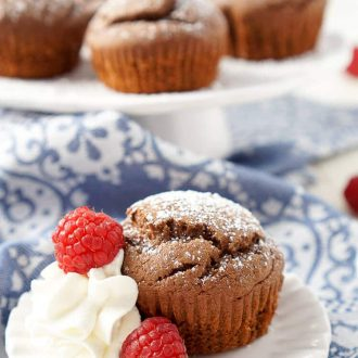 These Small Batch Chocolate Cakes are simple, lightly sweet, and have a semi-molten center! Pair them with whipped cream and fresh raspberries for a sophisticated date night or Valentine's Day dessert!