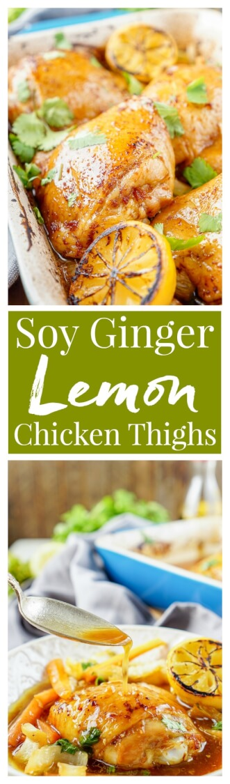 These Lemon Ginger Soy Chicken Thighs are slow roasted, tender, and bursting with flavor! The chicken thighs are basted throughout the roasting process with a simple sauce made with lemon, soy sauce, honey, and ginger. Roasted over a dish of bok choy and carrots, this dish is filled with Asian influence!